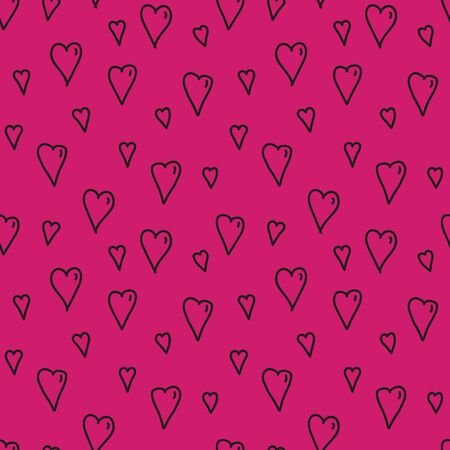 Vector seamless heart pattern in pink. Simple doodle shape made into repeat. Great for background, wallpaper, wrapping paper, packaging, fashion.