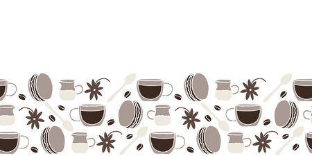 Vector cake and spoon and coffe cup and milk made into food repeat border. Great for restaurants, invitations, menu, posters. Illustration