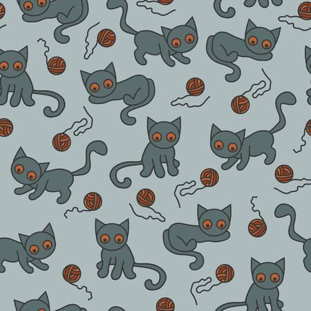Vector seamless cat and ball pattern in gray and orange. Simple abstract doodle pet and yarn made into repeat. Great for background, wallpaper, wrapping paper, packaging, fashion.