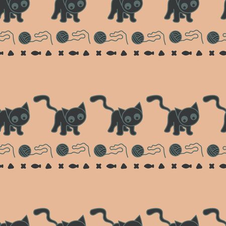 Vector seamless hirozontal cat pattern in gray and orange. Simple abstract doodle cat and kibble and ball made into repeat. Great for background, wallpaper, wrapping paper, packaging, fashion.