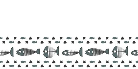 Vector cat food made into repeat border. Doodle kibble and fish skeleton made into horizontal border. Great for animal products, invitations, wrap, ribbon.