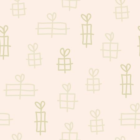 Vector seamless texture christmas pattern in beige. Simple doodle gift made into repeat. Great for background, wallpaper, wrapping paper, packaging. Stock Illustratie