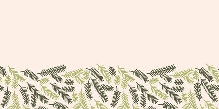 Vector christmas tree branch made into repeat border. Great for decorations, greeting card, wrap, ribbon. Stock Illustratie