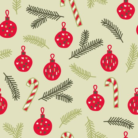 Vector seamless christmas pattern in green and red. Simple doodle bauble and branch made into repeat. Great for background, wallpaper, wrapping paper, packaging.