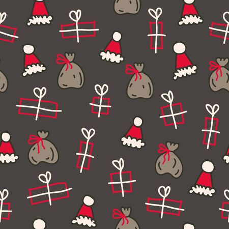 Vector seamless christmas pattern in brown and red. Simple doodle gift and santa hat andsanta bag made into repeat. Great for background, wallpaper, wrapping paper, packaging.