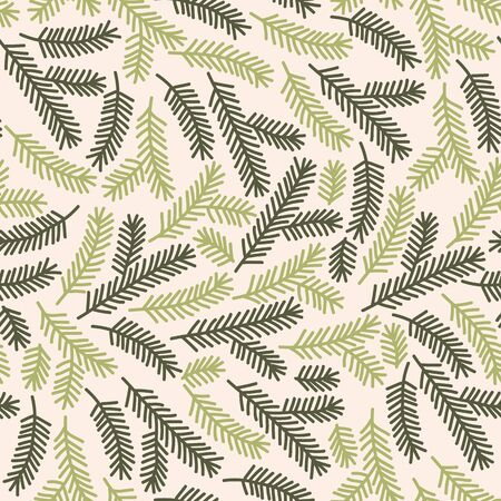 Vector seamless christmas texture pattern in green and beige. Simple doodle tree branch made into repeat. Great for background, wallpaper, wrapping paper, packaging.