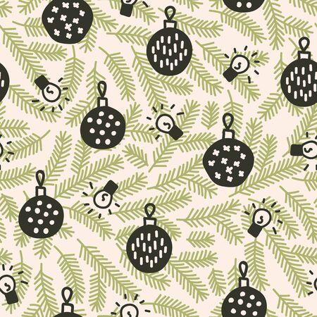 Vector seamless christmas pattern in green and beige. Simple doodle tree branch andbauble and christmas lights made into repeat. Great for background, wallpaper, wrapping paper, packaging.