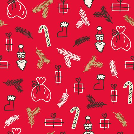 Vector seamless christmas pattern in red. Simple doodle tree branch and gift and santa bag made into repeat. Great for background, wallpaper, wrapping paper, packaging.
