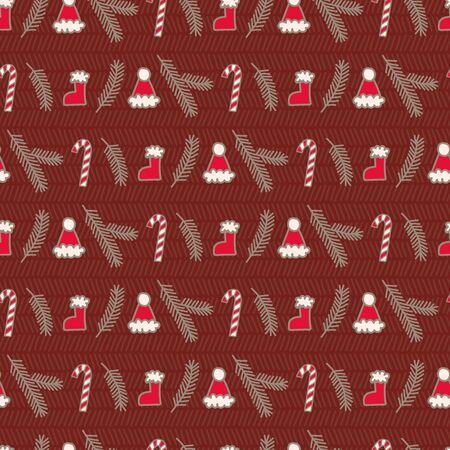Vector seamless horizontal christmas pattern in dark red. Simple doodle tree branch and santa hat and stocking made into repeat. Great for background, wallpaper, wrapping paper, packaging. Stock Illustratie
