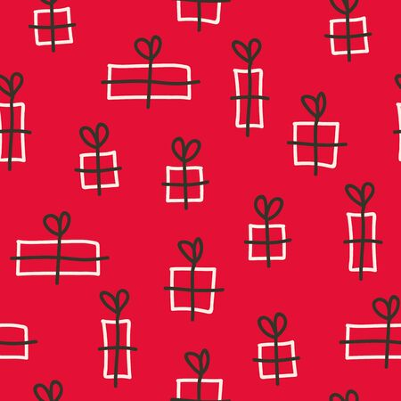 Vector seamless christmas pattern in red. Simple doodle gift made into repeat. Great for background, wallpaper, wrapping paper, packaging.