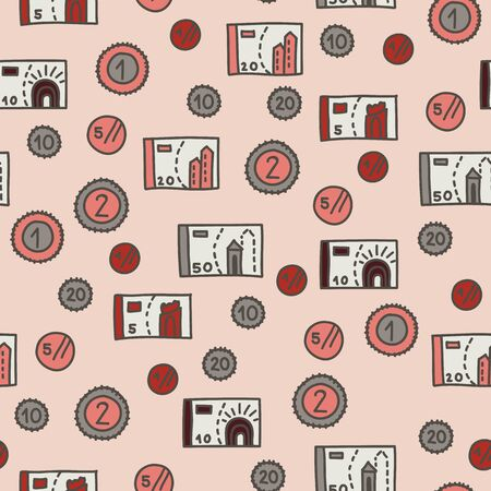 Vector seamless travel pattern in pink. Simple doodle money made into repeat. Great for background, wallpaper, wrapping paper, packaging, travel theme, fashion.