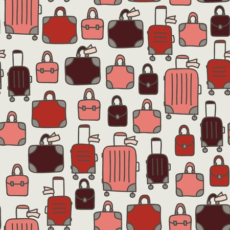 Vector seamless travel pattern in white. Simple doodle luggage and suitcase made into repeat. Great for background, wallpaper, wrapping paper, packaging, travel theme, fashion.