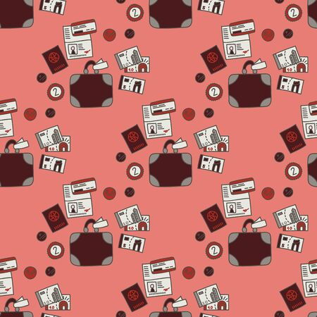Vector seamless travel pattern in pink. Simple doodle money and suitcase and passport and ticket made into repeat. Great for background, wallpaper, wrapping paper, packaging, travel theme, fashion. Stock Illustratie