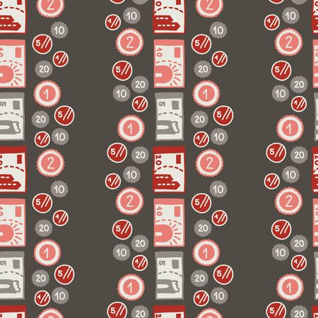 Vector seamless vertical travel pattern in pink. Simple doodle money and coin made into repeat. Great for background, wallpaper, wrapping paper, packaging, travel theme, fashion.