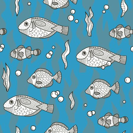 Vector underwater seamless pattern in blue. Simple doodle fish and seaweed elements hand drawn made into repeat. Great for background, wallpaper, wrapping paper, packaging, fashion, travel design. Stock Illustratie