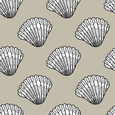 Vector shell seamless pattern in brown. Simple doodle seashell hand drawn elements made into repeat. Great for background, wallpaper, wrapping paper, packaging, fashion, travel design.