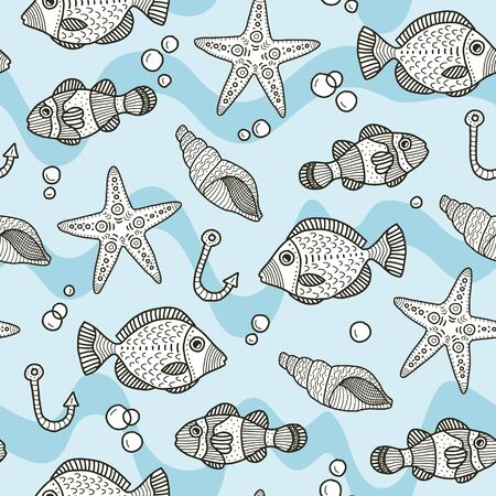 Vector underwater seamless pattern in blue. Simple doodle seashell, fish, bubbles hand drawn made into repeat. Great for background, wallpaper, wrapping paper, packaging, fashion, travel design. Stock Illustratie