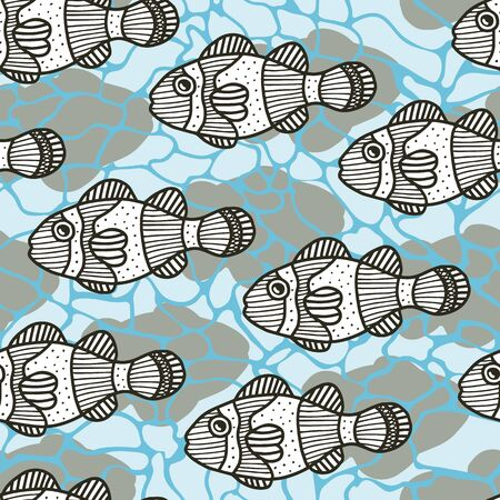 Vector abstract underwater seamless pattern in blue. Simple doodle fish and shadow and water surface texture made into repeat. Great for background, wallpaper, wrapping paper, packaging, travel. Stock Illustratie