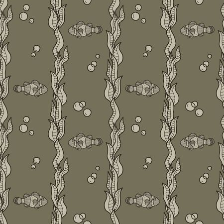 Vector underwater vertical seamless pattern in brown. Simple doodle seaweed and fish and bubbles hand drawn made into repeat. Great for background, wallpaper, wrapping paper, packaging, fashion, travel design.