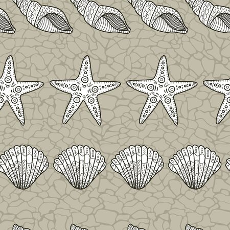 Vector horizontal shell seamless pattern in brown. Simple doodle seashell hand drawn elements made into repeat. Great for background, wallpaper, wrapping paper, packaging, fashion, travel design.