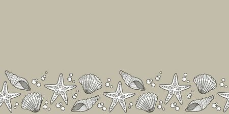 Vector shell seamless border in brown. Simple doodle seashell hand drawn made into repeat. Great for invitations, decor, packaging, ribbon, greeting cards, stationary, travel design.