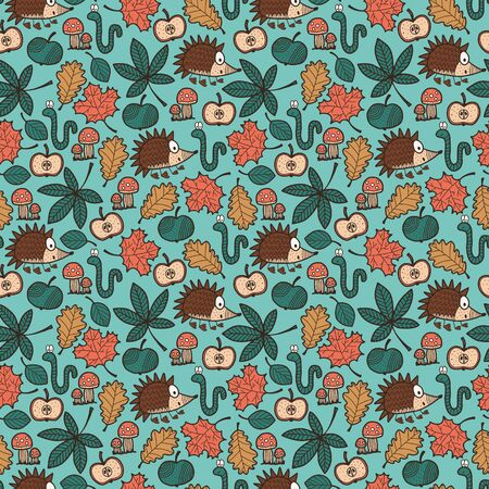Vector autumn kids seamless pattern in green. Simple doodle hedgehog leaf apple mashroom hand drawn made into repeat. Great for background, wallpaper, wrapping paper, packaging, fashion, kids design. Stock Illustratie