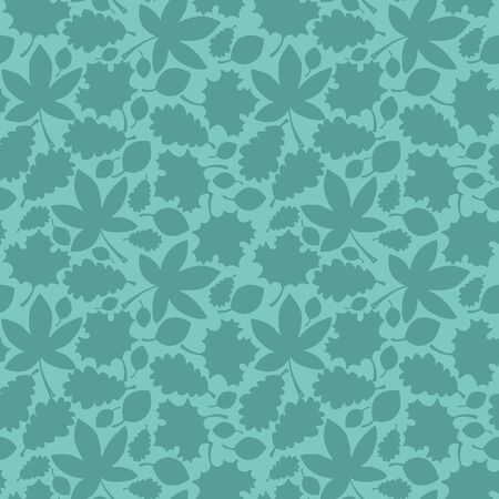 Vector autumn texture seamless pattern in green. Simple doodle leaves hand drawn made into repeat. Great for background, wallpaper, wrapping paper, packaging, fashion. Stock Illustratie