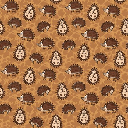 Vector autumn kids seamless pattern in brown. Simple doodle hedgehog and leaf hand drawn made into repeat. Great for background, wallpaper, wrapping paper, packaging, fashion, kids design. Stock Illustratie