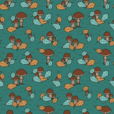 Vector autumn seamless pattern in green. Simple doodle mashroom and leaf hand drawn made into repeat. Great for background, wallpaper, wrapping paper, packaging, fashion.