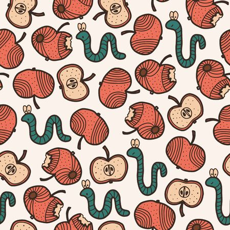 Vector autumn kids seamless pattern in red and white. Simple doodle worm and apple hand drawn made into repeat. Great for background, wallpaper, wrapping paper, packaging, fashion, kids design.