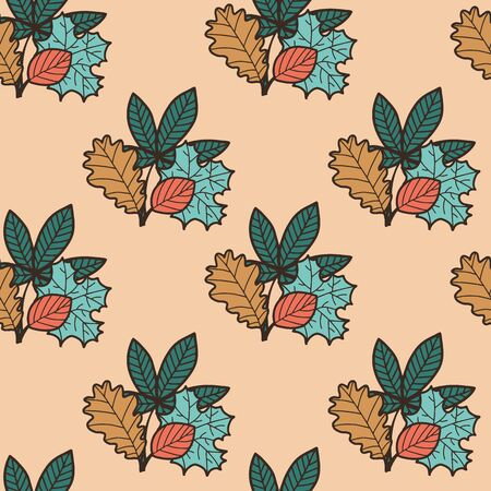 Vector autumn seamless geometric pattern in brown. Simple doodle leaf bouquet hand drawn made into repeat. Great for background, wallpaper, wrapping paper, packaging, fashion. Stock Illustratie