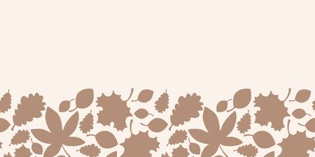 Vector autumn texture seamless border in brown. Simple doodle leaves hand drawn made into repeat. Great for invitations, decor, packaging, ribbon, greeting cards, stationary.