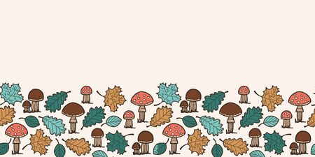 Vector autumn texture seamless border in beige. Simple doodle leaf and mashroom and toadstool hand drawn made into repeat. Great for invitations, decor, packaging, ribbon, greeting cards, stationary.