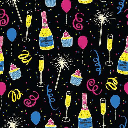 Vector celebration seamless pattern in black. Simple doodle toast, confetti, fireworks, streamer hand drawn made into repeat. Great for background, wallpaper, wrapping paper, packaging, new year party