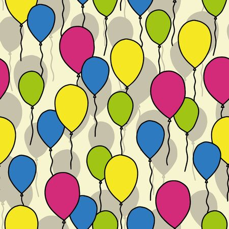 Vector celebration seamless pattern in yellow. Simple doodle baloons hand drawn made into repeat. Great for background, wallpaper, wrapping paper, packaging, party, new year design.