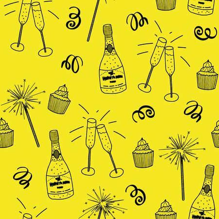 Vector celebration seamless pattern in yellow. Simple doodle toast, streamer, cupcake, fireworks, glass hand drawn made into repeat. Great for background, wallpaper, wrapping paper, packaging, party Stock Illustratie