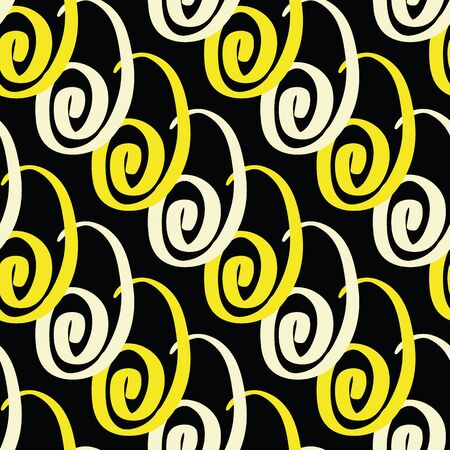 Vector geometric celebration seamless pattern in yellow. Simple doodle streamer hand drawn made into repeat. Great for background, wallpaper, wrapping paper, packaging, party, new year design.