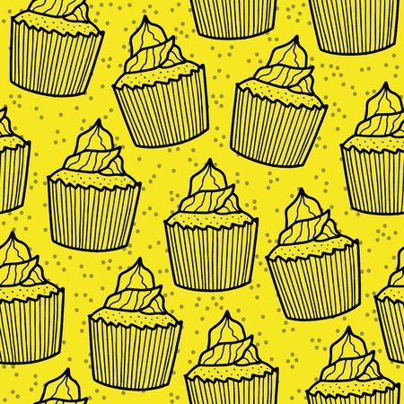 Vector celebration seamless pattern in yellow. Simple cupcake and confetti dots made into repeat. Great for background, wallpaper, wrapping paper, packaging, party, new year design.