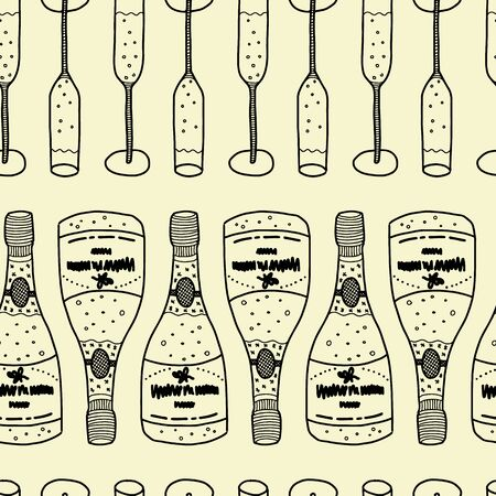 Vector celebration seamless pattern in light yellow. Simple glass and bottle made into repeat. Great for background, wallpaper, wrapping paper, packaging, party, new year design.