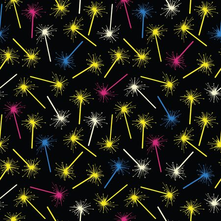 Vector celebration seamless pattern in black. Simple colorful fireworks made into repeat. Great for background, wallpaper, wrapping paper, packaging, party, new year design.