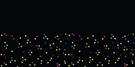 Vector celebration dot seamless border in black. Simple coloful polka dots like confetti made into repeat. Great for invitations, decor, packaging, ribbon, greeting cards, stationary, party, new year