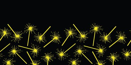 Vector celebration seamless border in black and yellow. Simple fireworks made into repeat. Great for invitations, decor, packaging, ribbon, greeting cards, stationary, party, new year design.