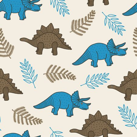 Vector dino seamless pattern in beige. Simple doodle dinosaur and leaf hand drawn made into repeat. Great for background, wallpaper, wrapping paper, packaging, kids fashion.