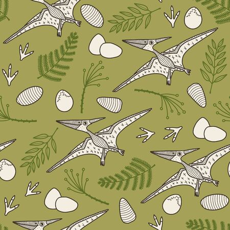 Vector dino seamless pattern in green. Simple doodle dinosaur and rock and leaf hand drawn made into repeat. Great for background, wallpaper, wrapping paper, packaging, kids fashion. Stock Illustratie