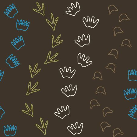 Vector dino seamless pattern in brown. Simple doodle animal footprints hand drawn made into repeat. Great for background, wallpaper, wrapping paper, packaging, kids fashion.