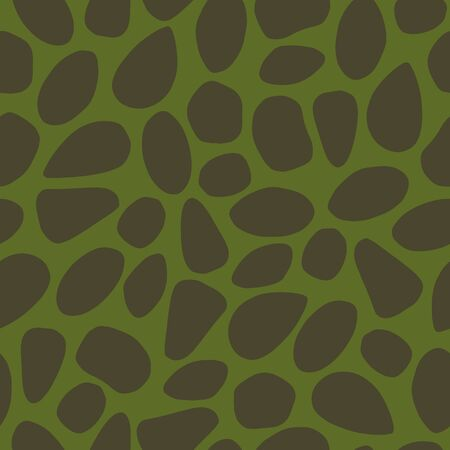 Vector dino texture seamless pattern in green and brown. Simple doodle rock shapes hand drawn made into repeat. Great for background, wallpaper, wrapping paper, packaging, kids fashion.