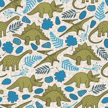 Vector dino seamless pattern in green and blue. Simple doodle dinosaur, leaf and rock hand drawn made into repeat. Great for background, wallpaper, wrapping paper, packaging, kids fashion.