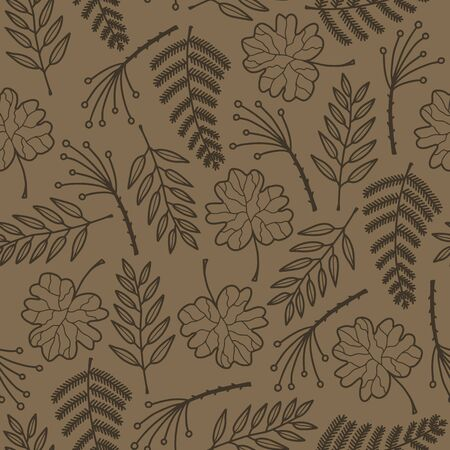 Vector nature texture seamless pattern in brown. Simple doodle different leaf shape hand drawn made into repeat. Great for background, wallpaper, wrapping paper, packaging, kids fashion.