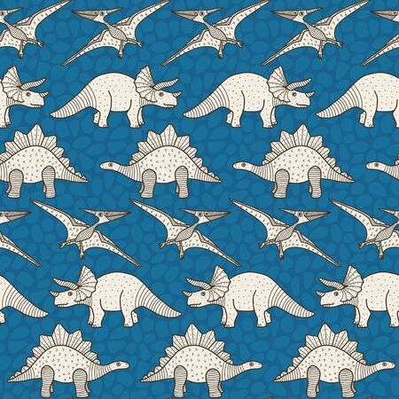Vector dino horizontal seamless pattern in blue. Simple doodle dinosaur and texture rock background hand drawn made into repeat. Great for background, wallpaper, wrapping paper, packaging, kids fashion. Stock Illustratie
