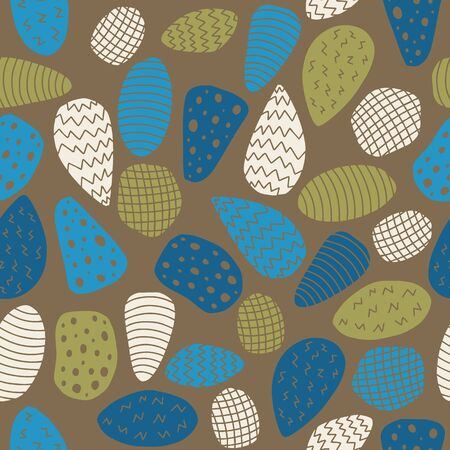 Vector colorful rock shape seamless pattern in brown. Simple doodle rock elements hand drawn made into repeat. Great for background, wallpaper, wrapping paper, packaging, kids fashion. Stock Illustratie